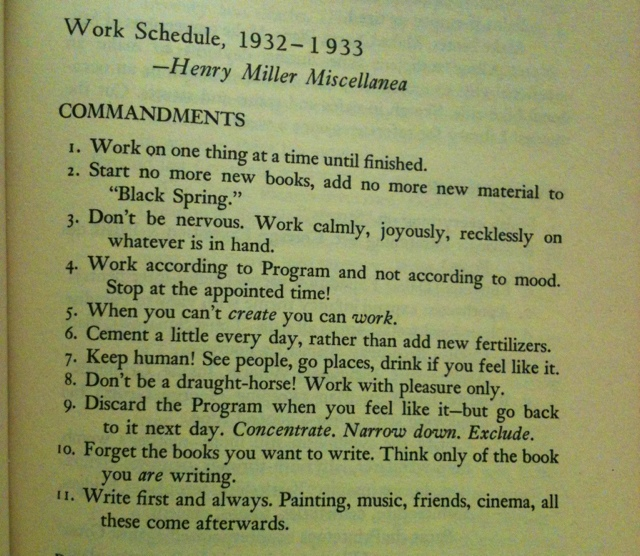 Henry Miller's Rule for Writing