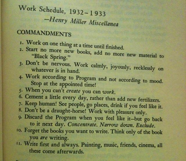 Henry Miller's Rule for Writing